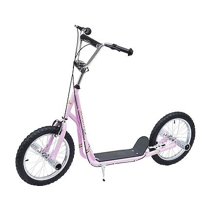 HOMCOM Kinderroller höhenverstellbar rosa 125 x 58 x 80-90 cm (LxBxH) | Scooter Kinder Tretroller Cityroller Kickboard - Bild 1