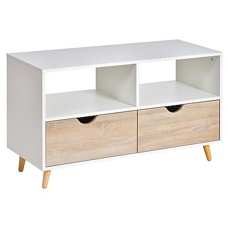 HOMCOM TV-Ständer mit Schubladen weiß, natur 99 x 39 x 58 cm (BxTxH)   Fernsehtisch Fernsehschrank TV-Board Sideboard - Bild 1