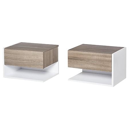 HOMCOM Nachttisch 2-teilig weiß, eiche 46 x 30 x 30 cm (BxTxH)   Beistelltisch Nachtschrank Kommode - Bild 1