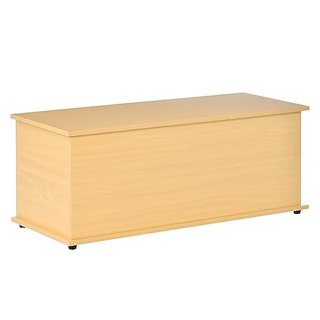 HOMCOM Holzkiste mit klappbarem Deckel 100 x 40 x 40 cm (LxBxH)   Holztruhe Aufbewahrungsbox Spielzeugtruhe - Bild 1