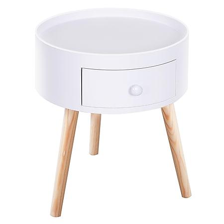 HOMCOM Nachttisch mit Schublade weiß 38 x 45 cm (ØxH) | Beistelltisch Sofatisch Telefontisch Nachttisch - Bild 1
