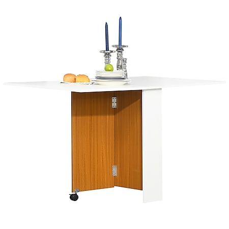 HOMCOM Mobiler Klapptisch Eiche, weiß | Mobiler Tisch Schreibtisch Beistelltisch mit Rollen - Bild 1
