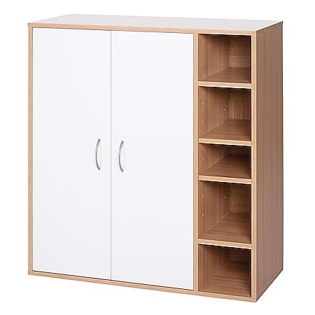 HOMCOM Büroschrank mit verstellbaren Regalböden natur, weiß 80 x 32 x 90,5 cm (LxBxH) | Mehrzweckschrank Standschrank Bücherregal Büromöbel - Bild 1