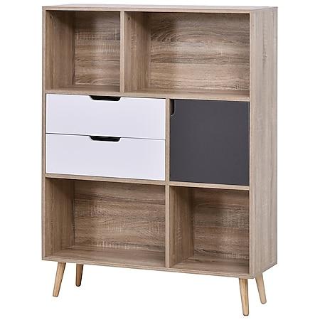 HOMCOM Standregal mit 2 Schubladen natur, weiß/grau 90 x 30 x 120 cm (BxTxH)   Highboard Wohnzimmerregal Bücherregal Büroregal - Bild 1