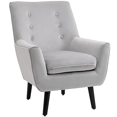 HOMCOM Polstersessel mit Armlehnen grau 72,5 x 78,5 x 91,5 cm (BxTxH)   Sessel Lounge Stuhl Samt Grau Modern - Bild 1