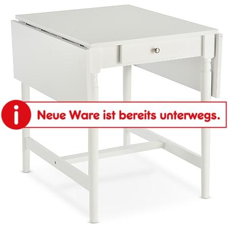 HOMCOM Esstisch mit einklappbaren Tischplatten weiß 59/115 x 78 x 76 cm (LxBxH) | Tisch Esszimmertisch Klapptisch Beistelltisch - Bild 1
