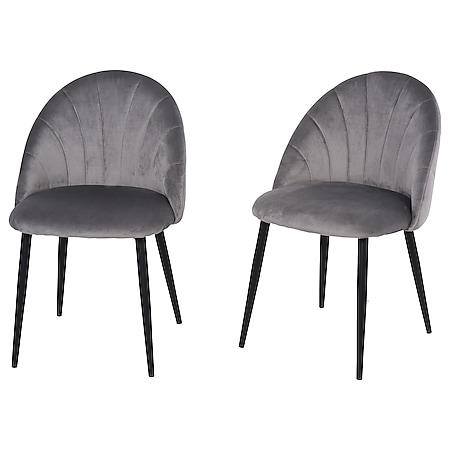 HOMCOM Esszimmerstuhl im 2er Set grau, schwarz 50 x 54 x 79 cm (BxTxH)   Wohnzimmerstuhl Küchenstuhl Polsterstuhl Stuhl - Bild 1