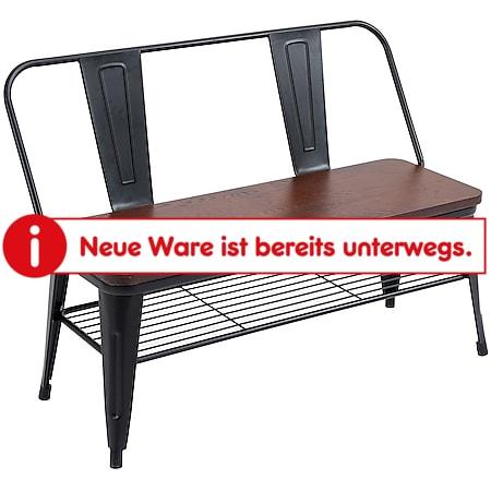 HOMCOM Metallbank mit Holzsplatte braun, schwarz 110,5 x 53 x 81 cm (BxTxH)   Gartenbank Gartenmöbel Sitzbank wasserdicht - Bild 1