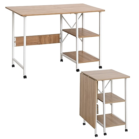 HOMCOM Schreibtisch einklappbar und auf Rollen natur, weiß 107 x 55 x 76 cm (LxBxH)   Klapptisch Bürotisch Computertisch PC-Tisch - Bild 1