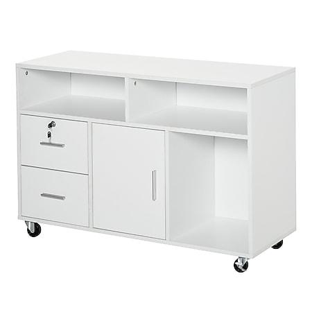 HOMCOM Bürocontainer mit Rollen weiß 100 x 35 x 65 cm (BxTxH) | Büroschrank Aktenschrank Bürocontainer Büro - Bild 1