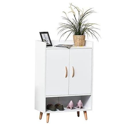 HOMCOM Schuhschrank mit Türen weiß 60 x 30 x 92 cm (BxTxH) | Schuhständer Schuhkipper Schuhregal Flurschrank - Bild 1