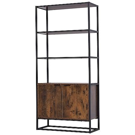 HOMCOM Bücherregal mit 3 Ebenen im Industrie Design braun 76 x 33 x 162,5  cm | Büroregal Standregal Aufbewahrungsregal Industrielook - Bild 1