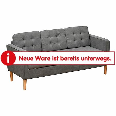 HOMCOM 3-Sitzer Sofa mit abnehmbaren Kissen grau 166,5 x 62 x 82 cm (BxTxH) | Sitzmöbel Polstersofa Polstermöbel Couch Wohnzimmer - Bild 1