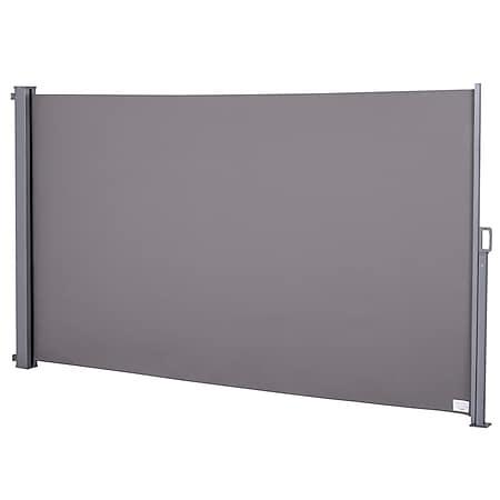 Outsunny Seitenmarkise mit Rückrollfunktion grau 300 x 160 cm (LxH) | Sichtschutz Sonnenschutz Seitenrollo Windschutz - Bild 1