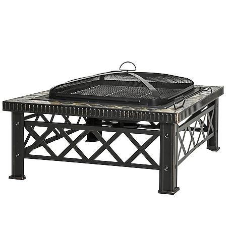 Outsunny 3-in-1 Feuerschale mit Grillrost schwarz 76 x 76 x 47 cm (BxTxH) | Feuerschale mit Funkenschutz Feuerstelle Schale - Bild 1