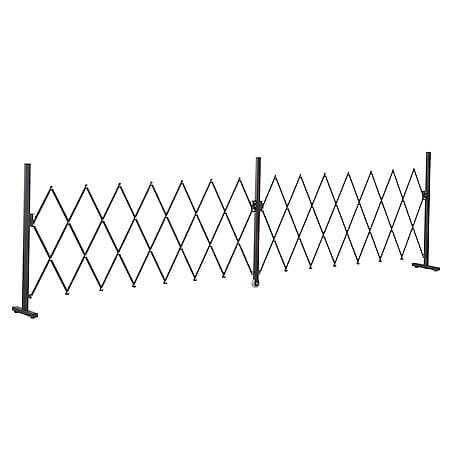 Outsunny Absperrgitter ausziehbar dunkelbraun 405 x 31 x 103,5 cm (LxBxH)   Scherengitter Scherensperre Türgitter Absperrzaun - Bild 1