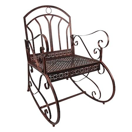 Outsunny Schaukelstuhl im stilvollen Design bronze-rot 59 x 73 x 96 cm (BxTxH) | Schaukelsessel Schwingsessel Gartenstuhl Relaxstuhl - Bild 1