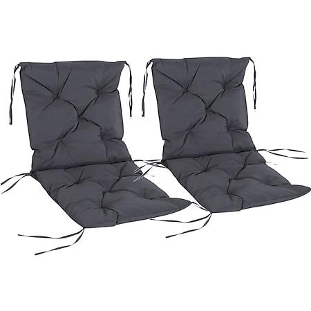 Outsunny Stuhlauflage als 2er-Set grau 98 x 50 x 8 cm (LxBxH) | Sitzkissen Auflage für Sitzbank Gartenbankauflage - Bild 1