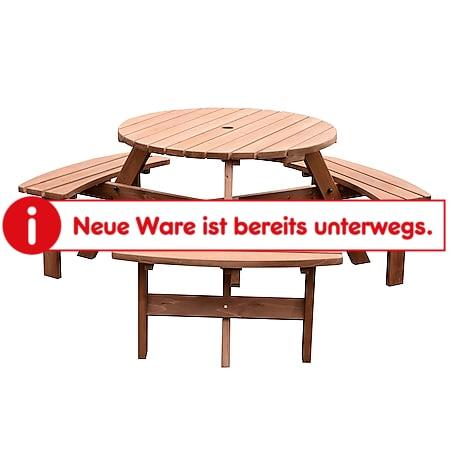 Outsunny Garten Tischgruppe mit 3 Bänken natur 170 x 70 cm (ØxH)   Gartengarnitur Sitzgruppe Sitzgarnitur Holzgarnitur - Bild 1