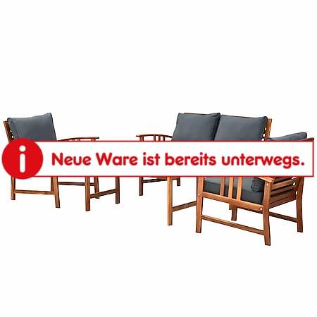 Outsunny Garten-Sitzgruppe als 4-teiliges Set braun | Holzgartenset Gartengarnitur Gartenmöbel Lounge - Bild 1