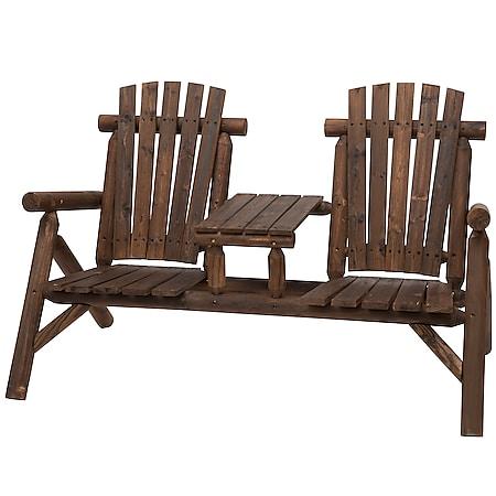 Outsunny Gartenbank mit Tisch braun 156 x 83 x 95 cm (BxTxH) | Sitzgruppe Gartenmöbel Sitzbank mit Mitteltisch - Bild 1
