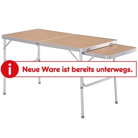 Outsunny Picknicktisch mit seitlicher Tischplatte hellbraun 120 x 60 x 40/70 cm (LxBxH)   Campingtisch Klapptisch Gartentisch Universaltisch - Bild 1
