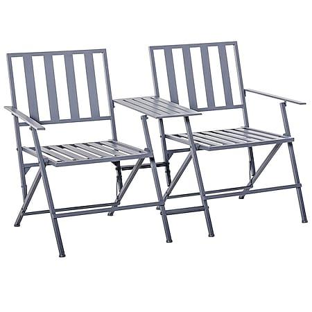 Outsunny Doppel-Gartenstuhl mit Tisch klappbar grau 141 x 60 x 87,5  cm   Balkonstuhl Gartenstuhl Doppelstuhl Stuhl klappbar - Bild 1