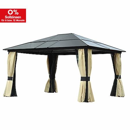 Outsunny Luxus Pavillon mit lichtdurchlässigem Dach braun, schwarz, beige 420 x 360 x 265 cm (LxBxH)   Gartenpavillon Gartenzelt Partyzelt Pavillon - Bild 1