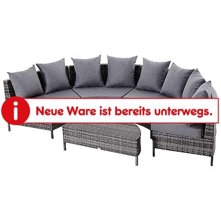 Outsunny Gartensofa mit Beistelltisch grau | Polyrattan Sitzgruppe Sofagarnitur Gartenmöbel - Bild 1