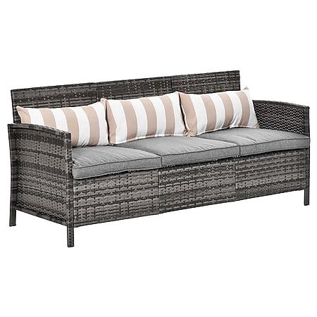 Outsunny Rattan Loungesofa als 3-Sitzer 173 x 68 x 78 cm (BxTxH) | Rattan Sofa Gartenbank Gartensofa Terassenmöbel - Bild 1