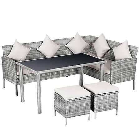 Outsunny Rattan Sitzgruppe mit Tisch grau, cremeweiß | Gartenmöbelset Gartenset Essgruppe als 5-teiliges Set - Bild 1