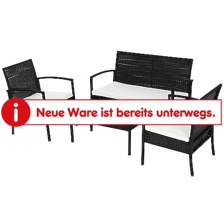 Outsunny Polyrattan Sitzgruppe als 7-teiliges Set schwarz, cremeweiß   Gartenset Gartenmöbel Rattanmöbel Rattanset - Bild 1