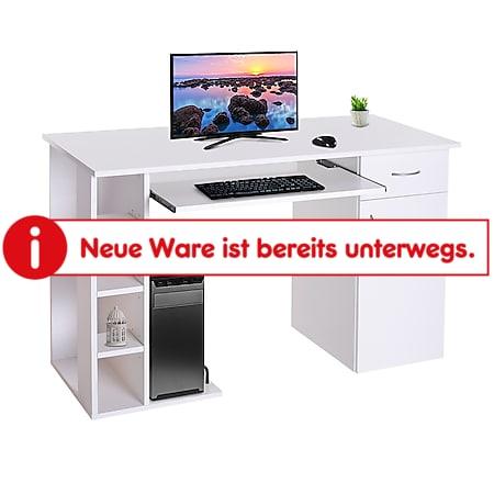HOMCOM Computertisch mit Schrank weiß 120 x 60 x 74 cm (BxTxH) | Schreibtisch Bürotisch Computerschreibtisch Tisch - Bild 1