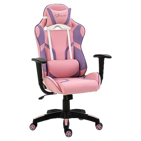 Vinsetto Gamingstuhl ergonomisch rosa, violett 69 x 56 x (116-125,5) cm (BxTxH) | Bürostuhl PC-Stuhl Drehstuhl Chefsessel Stuhl - Bild 1