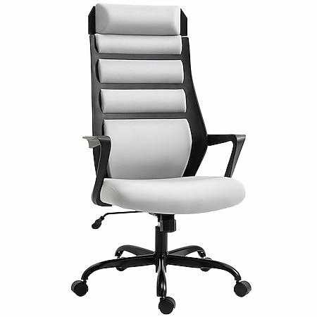 Vinsetto Bürostuhl ergonomisch grau, schwarz 60 x 64 x 112-120 cm (BxTxH) | Büromöbel Schreibtischstühl Bürostuhl Drehstuhl - Bild 1