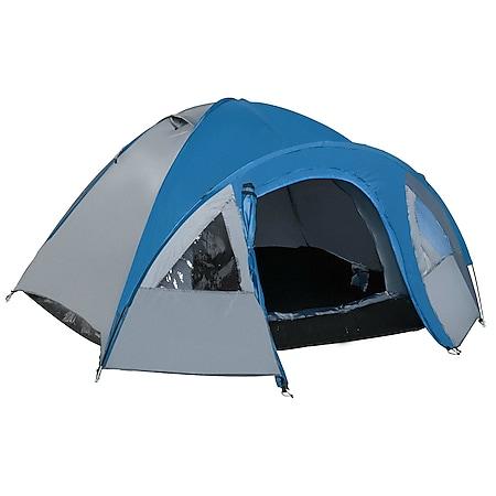 Outsunny Doppelwandzelt für 4 Personen blau 300 x 250 x 130 cm   Kuppelzelt Outdoor Iglu Familienzelt Campingzelt - Bild 1