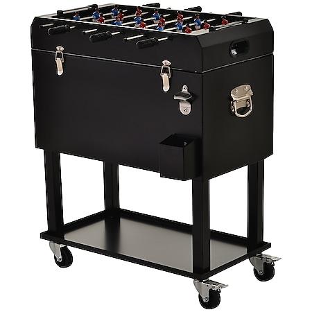 Outsunny Tischkicker mit Kühlbox schwarz 71 x 59,5 x 85 cm (LxBxH)   Tischfußball Kühlwagen mit 4 Rollen Weinkühler - Bild 1