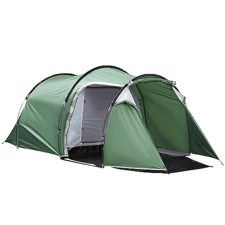 Outsunny Campingzelt für 3-4 Personen dunkelgrün, schwarz 426 x 206 x 154 cm ( LxBxH?   Camping Pop up Zelt Zelt Familienzelt Wandern - Bild 1
