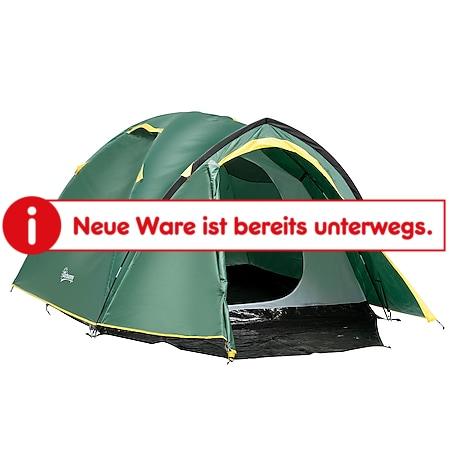 Outsunny Campingzelt für 3-4 Personen grün, gelb 325 x 183 x 130 cm (LxBxH) | Kuppelzelt Multifunktionszelt Sonnenschutz Zelt - Bild 1