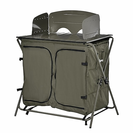Outsunny 2in1 Campingtisch mit Arbeitsfläche und Fächern grün 94 x 57 x 109 cm (LxBxH) | Klapptisch Koffertisch Picknicktisch Esstisch - Bild 1
