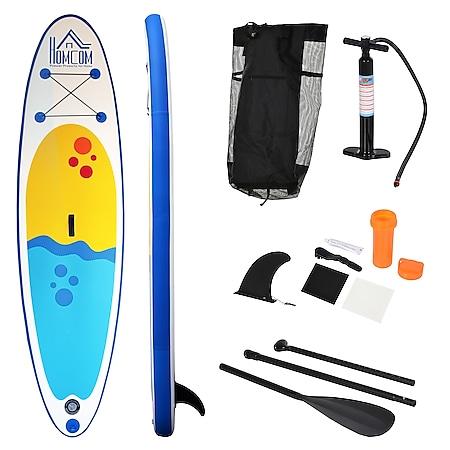 HOMCOM Aufblasbares Surfbrett mit Paddel weiß, blau 305 x 76 x 10 cm (LxBxH)   Surfboard inkl. Ausrüstung Board aufblasbar Strand - Bild 1