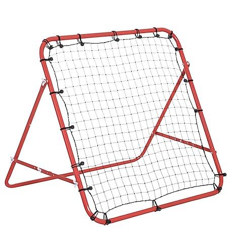 HOMCOM Fußball Rebounder mit verstellbaren Winkeln rot, schwarz 96 x 80 x 96 cm (BxTxH) | Rückprallwand Kickback Tor Trainingsnetz Fußballtor - Bild 1