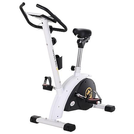 HOMCOM Heimtrainer mit Magnetwiderstand weiß 50 x 101 x 120 cm (BxTxH) | Fahrradtrainer Trimmrad Rollentrainer Trainingsgerät - Bild 1