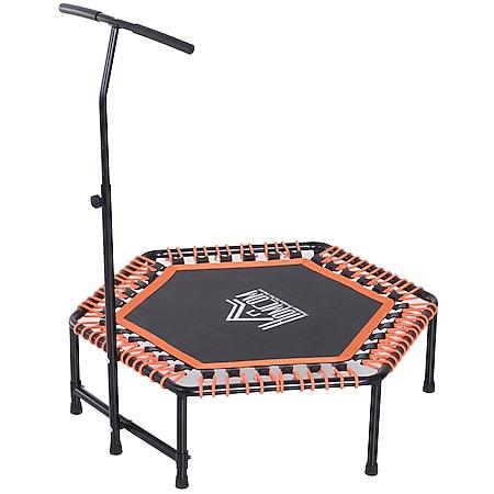 HOMCOM Fitness-Trampolin mit Haltegriff schwarz, orange 121,9 x 122-138 cm (ØxH) | Gartentrampolin Minitrampolin Trainingstrampolin - Bild 1