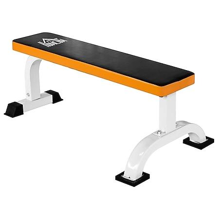 HOMCOM Hantelbank rutschfest schwarz, weiß, orange 110 x 58,5 x 40 cm (LxBxH)   Fitnessbank Schrägbank Trainingsbank Krafttraining - Bild 1