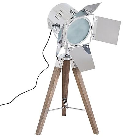 HOMCOM Tripod-Tischlampe natur, silber 33 x 33 x 75 cm (LxBxH) | Tischleuchte Stativlampe Tripodlampe Retroleuchte - Bild 1