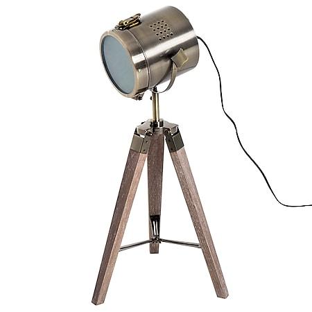 HOMCOM Tripod-Tischleuchte in Scheinwerfer-Form natur, bronze 33 x 33 x 65 cm (LxBxH)   Tischlampe Nachttischlampe Tripodlampe Retroleuchte - Bild 1