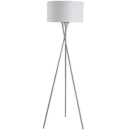 HOMCOM Stehlampe mit Stoffschirm silber, weiß 48 x 162 cm (ØxH) | Tripod-Stehlampe Stehleuchte Leselampe Dreibeinlampe - Bild 1