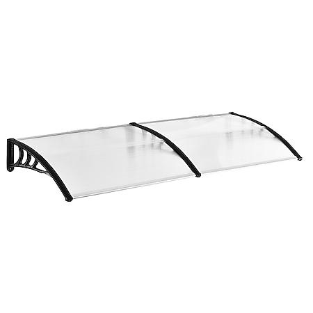 Outsunny Pultvordach für die Haustür transparent, schwarz 195 x 80 x 23 cm (BxTxH) | Vordach Türvordach Pultvordach Überdachung - Bild 1