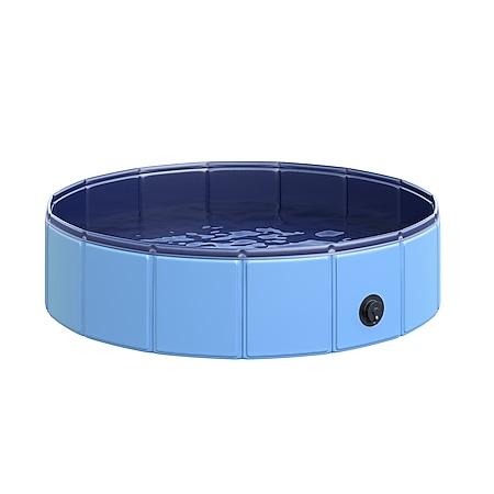 PawHut Hundebadewanne mit Wasserablassventil blau 80 x 20 cm (ØxH) | Hundepool Badewanne Swimmingpool Wasserbecken - Bild 1